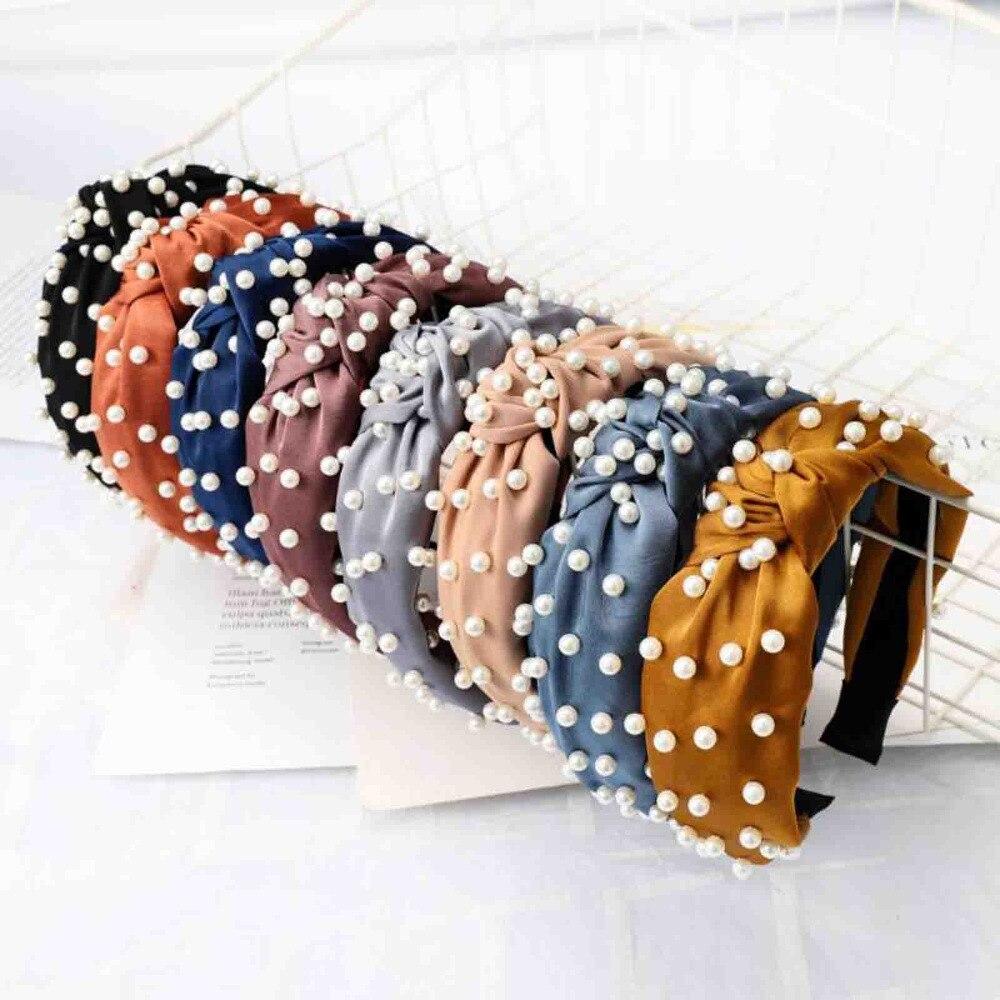 Fashion Pearl Hair Accessories Adlut High Elastic Hair Band Headband For Girls Hairband Wholesale Hair Hoop Turban