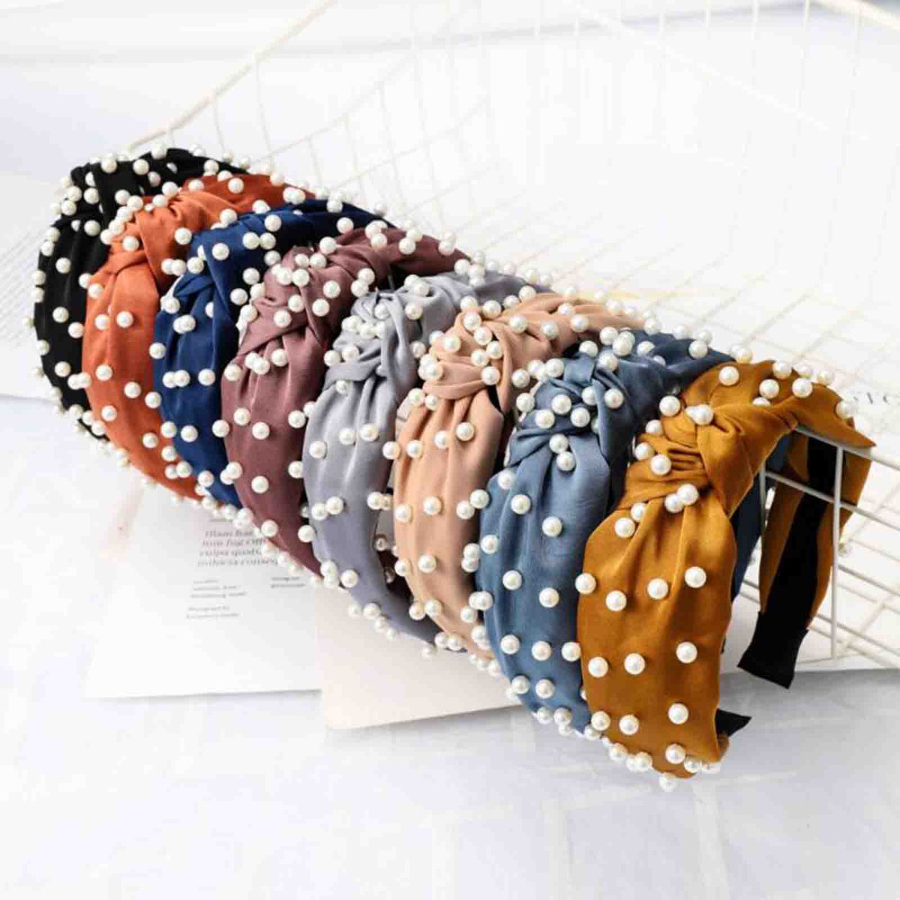 Fashion Pearl Hair Accessories Adult High Elastic Hair Band Headband For Girls Hairband Wholesale Hair Hoop Turban