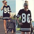 Summer Style Women T Shirt Celebrity Number 86 Print Tops Long Loose Hip Hop American Tee Ladies T-shirt Blusas