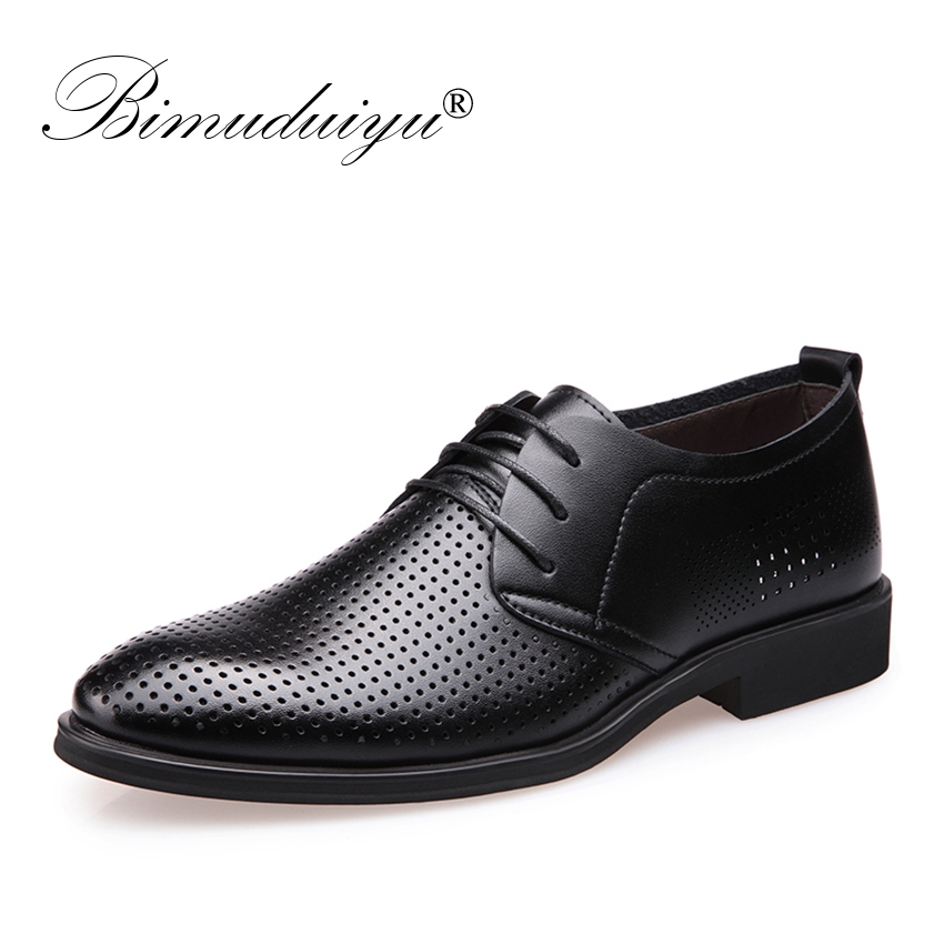 BIMUDUIYU Luxury brand Hollow Outs Breathable Men Formal Shoes Patent - Men's Shoes