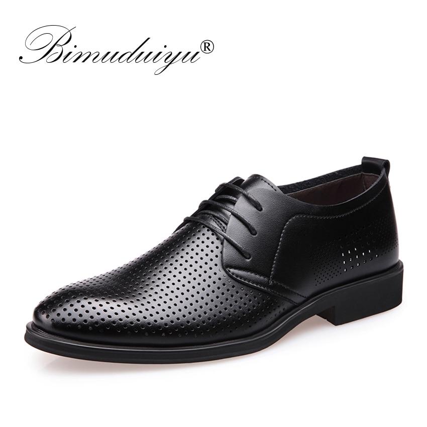BIMUDUIYU Merek Mewah Melubangi Pria Bernapas Sepatu Formal Kulit - Sepatu Pria
