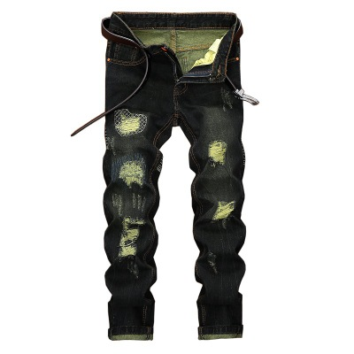 2018 New Fashion Mens Pants Washed Distressed Moustache Effect Jeans Males Casual Street Jeans with 42 Size