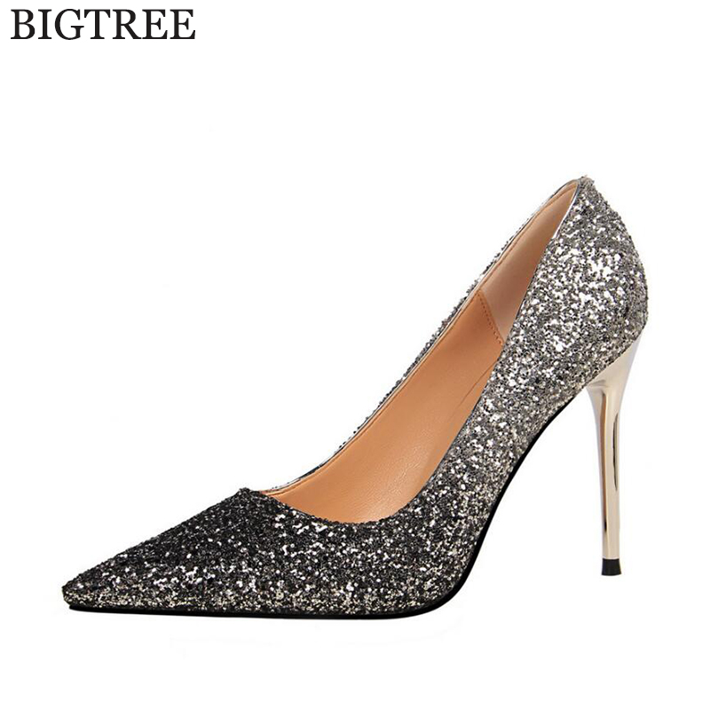 BIGTREE Autumn Shoes Women Heel Pumps Sexy High Heels Pointed Party Shoes Woman Wedding Shoes Office Sequins Zapato Mujer Shoes