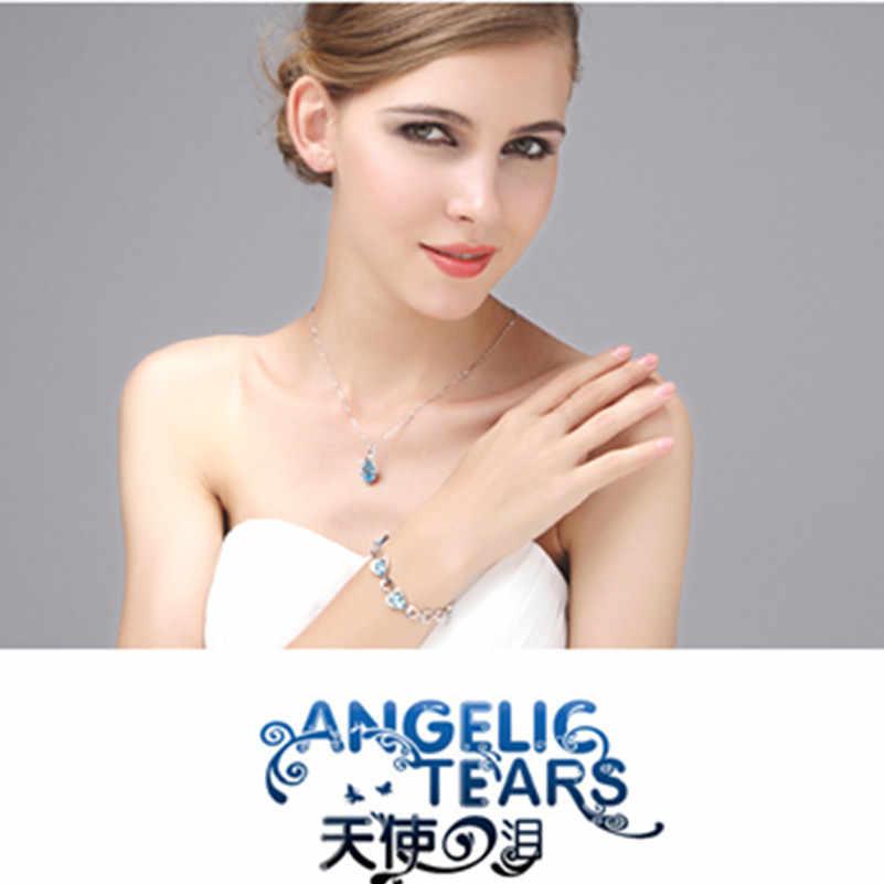 Mode Blau Österreichischen Kristall Halskette Wassertropfen Anhänger Halskette Für Frauen Geburtstag Besten Freund Geschenk Schmuck Großhandel x331