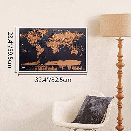 New 1 Piece Black Deluxe Travel Map Travel Tracker Poster World Map