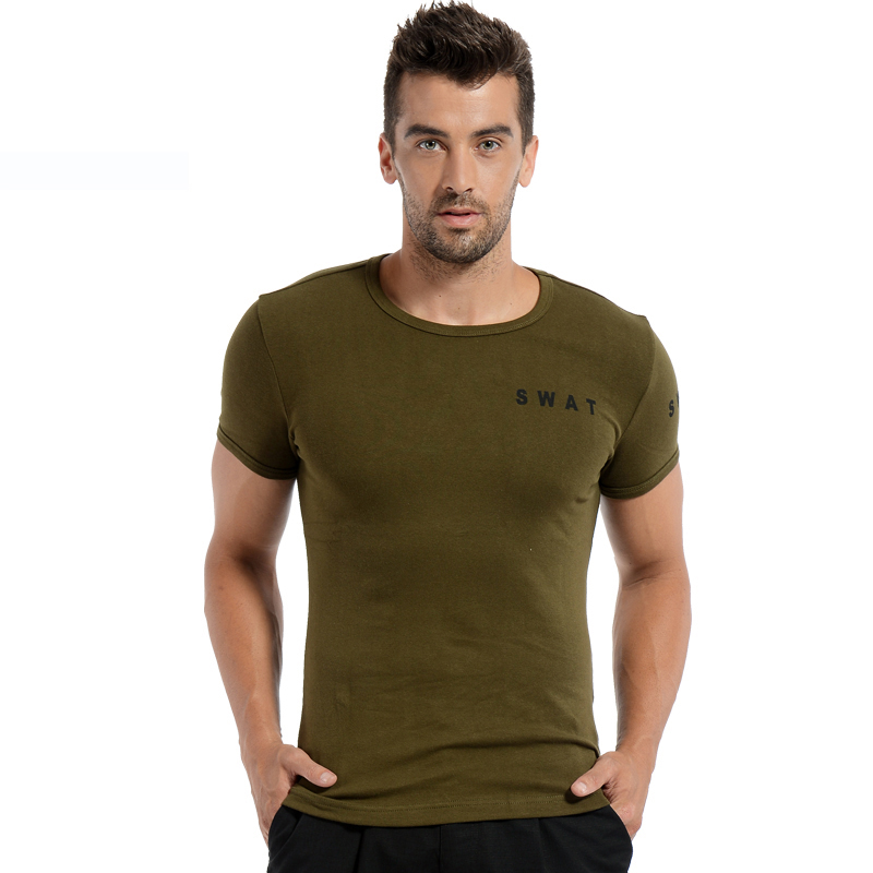 Tshirt Men Cotton Funny Slim Solid T-shirt Men Sport Short Sleeve Hiking T-shirt Breathable Tactical Shirts Men Army Military