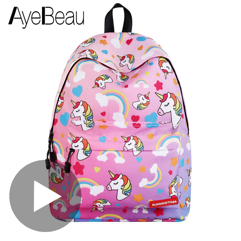 Scool Book Portfolio Child Children Unicorn School Bag Backpack Schoolbag Kid For Girl Teenager Meninas Baby Kindergarten Infant