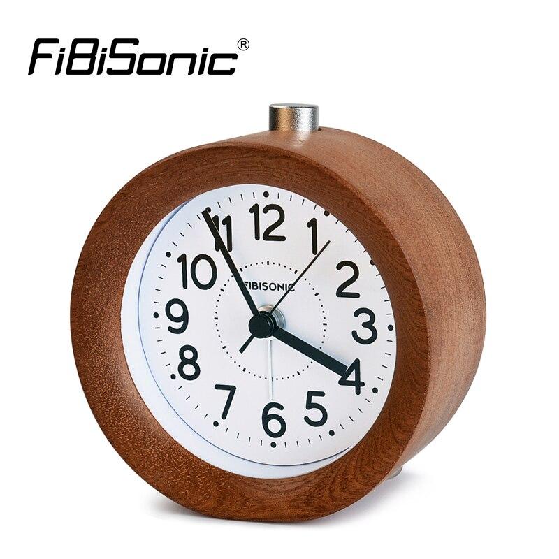 fibisonic circular snooze sweep movement mute alarm clock modern needle wooden table alarm clocks electronic desk - Desk Clocks