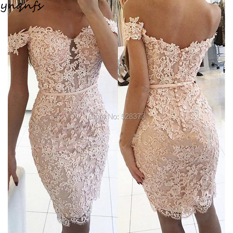 YNQNFS CD60 Vestido de Festa Curto Robe Cocktail Elegant Beaded Lace Appliqued Short Party Mother of Bride Dresses 2019