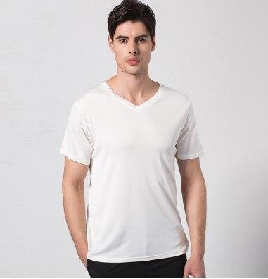 Hk soie rime 2019 nouveaux hommes à tricoter 100% mûrier soie v-cou t-shirts à manches courtes blanc