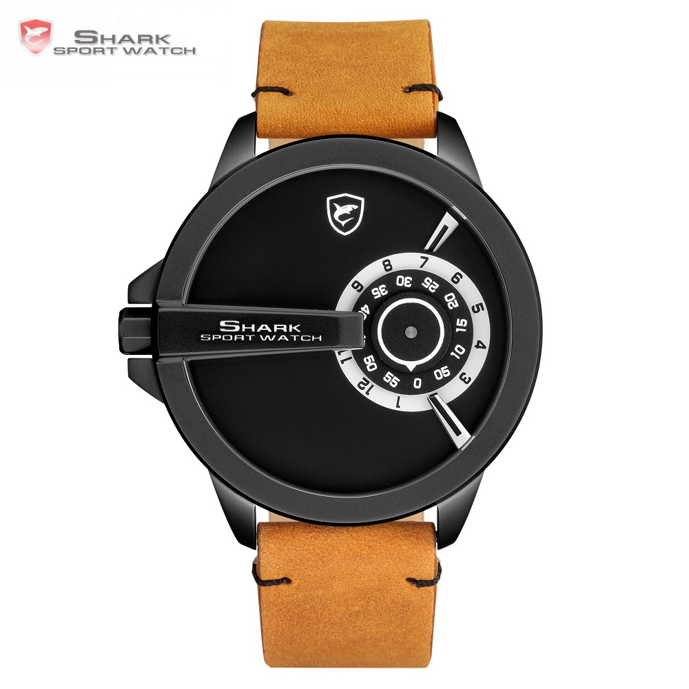 Luxury SHARK Sport Watch Turntable Black Special Design Quartz Brown Crazy Horse Leather Strap Men Creative Watches Gift /SH562 greenland shark 2 series sport watch new design red date crazy horse leather quartz clock men watches reloj hombre gift sh454