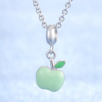Green Apple Design Enamel Nice Jewelry Popular 925 Sterling Silver Necklace