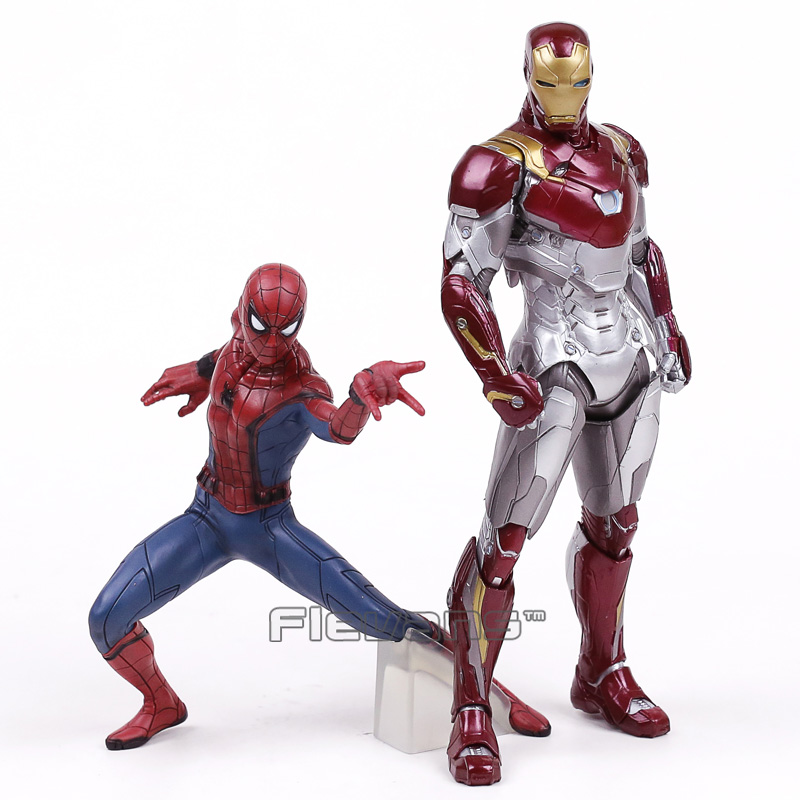 Spider Man Homecoming Spiderman / Iron Man MK47 PVC Figure Collectible Model Toy with Retail Box 2 Styles 1pc 24cm adult kids suitable spiderman cosplay costume spider man glove spider man launchers toy emitter with gift box