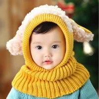 Venta caliente NUEVO Bebé Lindo Del Invierno Set Sombrero con La Bufanda Del Calentador Del Cuello Casquillo lindo para Niños Niñas Niños Niños de terciopelo caliente de espesor de nieve tapa