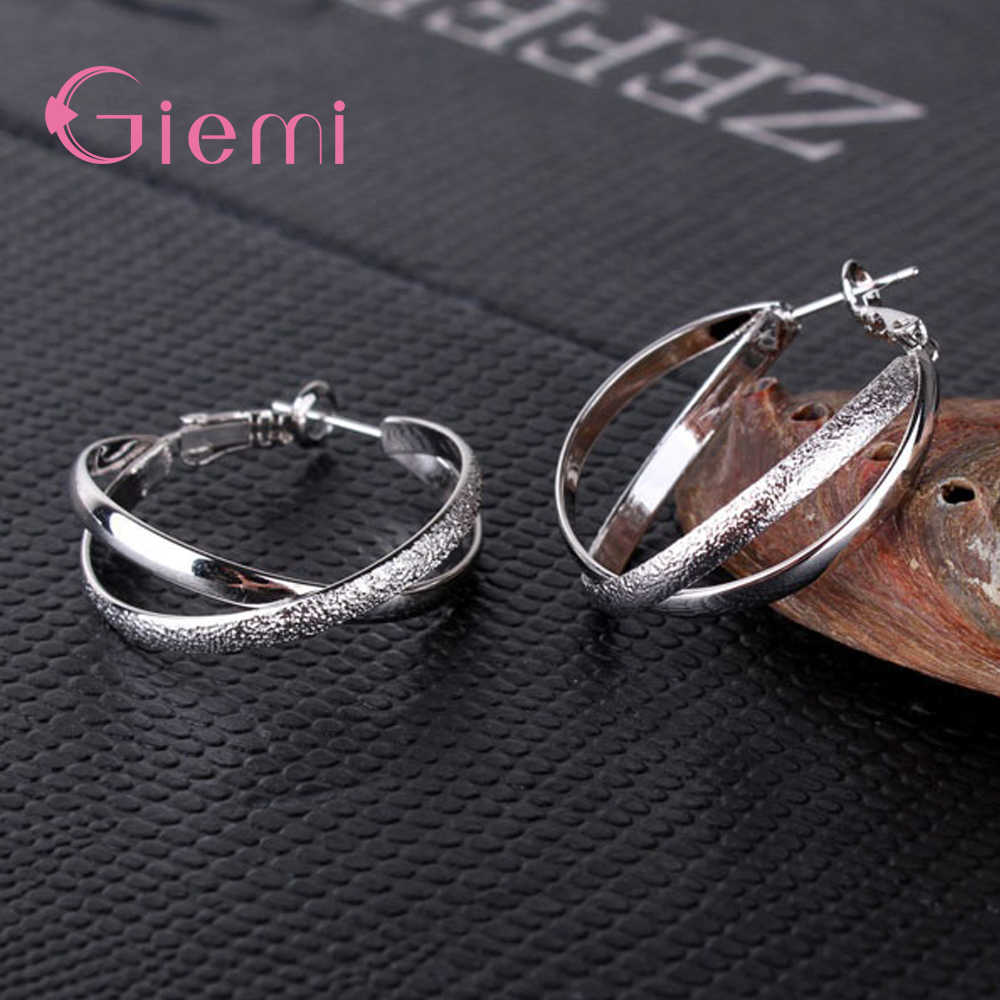 Classic Style Three Color Two Round Circles Composition Hoop Earrings For Women Girls 925 Sterling Silver Jewelry Present