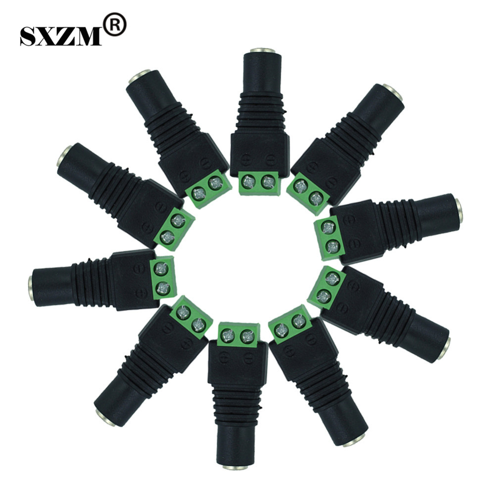 SXZM 50pcs/lot DC connector 2.1*5.5mm female DC Power Jack socket Plug Connector for 3528/5050/5730 single color led strip 5set 3pin female panel powercon stage light power plug and socket audio connector plug socket 20a 250v nac3fca with nac3mpa 1
