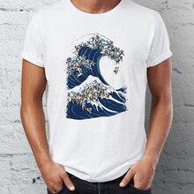 aeb647b58 Men's T Shirt The Great Wave of Pug Off Kanagawa Awesome Animals Tee T-Shirt