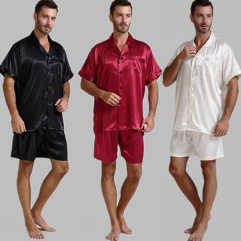 Męska jedwabna satynowa piżama piżama piżama krótki komplet bielizna nocna Loungewear U S S M L XL 2XL 3XL 4XL Solid _ _ 6 kolorów tanie i dobre opinie Mężczyźni Piżamy Skręcić w dół kołnierz REGULAR M712 LONXU Przycisk fly Stałe Lycra Jedwabiu Casual