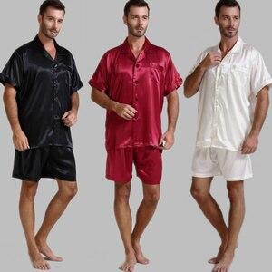 Image 1 - Męska jedwabna satynowa piżama piżama piżama krótki komplet bielizna nocna Loungewear U.S.S, M, L, XL, 2XL, 3XL, 4XL Solid _ _ 6 kolorów