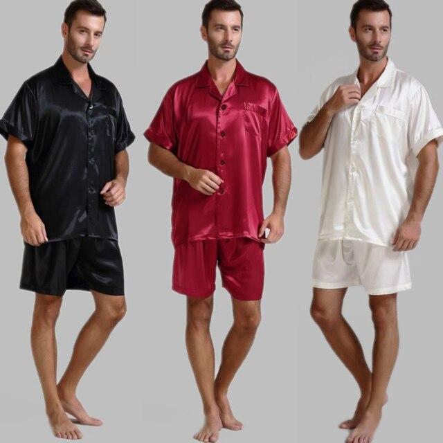 Męska jedwabna satynowa piżama piżama piżama krótki komplet bielizna nocna Loungewear U.S.S, M, L, XL, 2XL, 3XL, 4XL Solid _ _ 6 kolorów