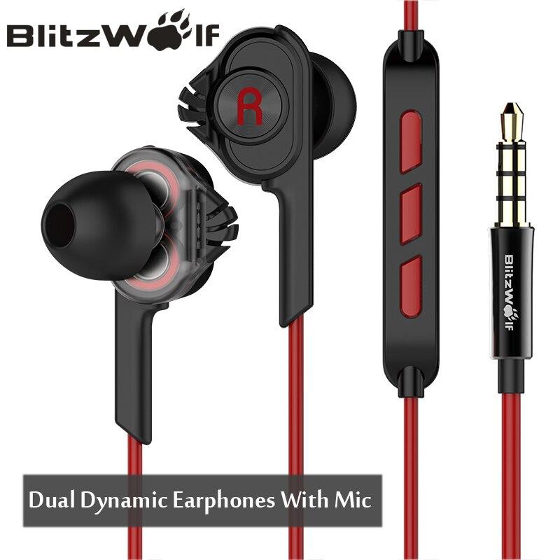 BlitzWolf Verdrahtete Kopfhörer Mit Mic In-ohr Kopfhörer 3,5mm Kopfhörer Mit Mikrofon Für Telefon Stereo Earbuds Für iPhone Smartphone