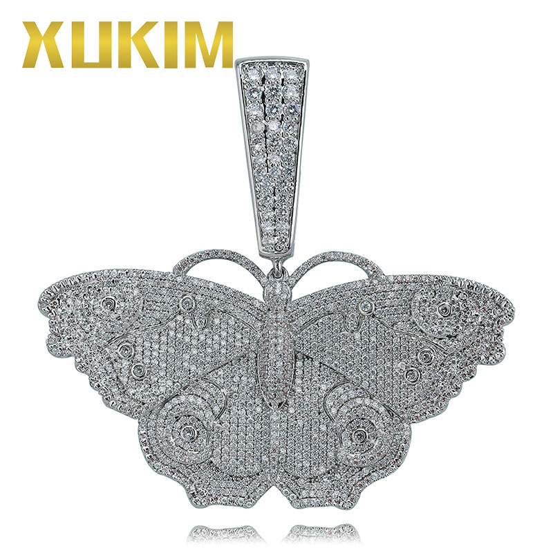 Xukim Jewelry Newest Silver Gold Mix Color Butterfly Pendant Necklace AAA Cubic Zirconia Iced Out Hip Hop Jewelry Men Women Gift