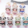 Extremely Cute Monchichi Panda Baby Design Premium Zinc Alloy Keychain Pendant Lovely Bag Charms Ornament Children's Nice Gift