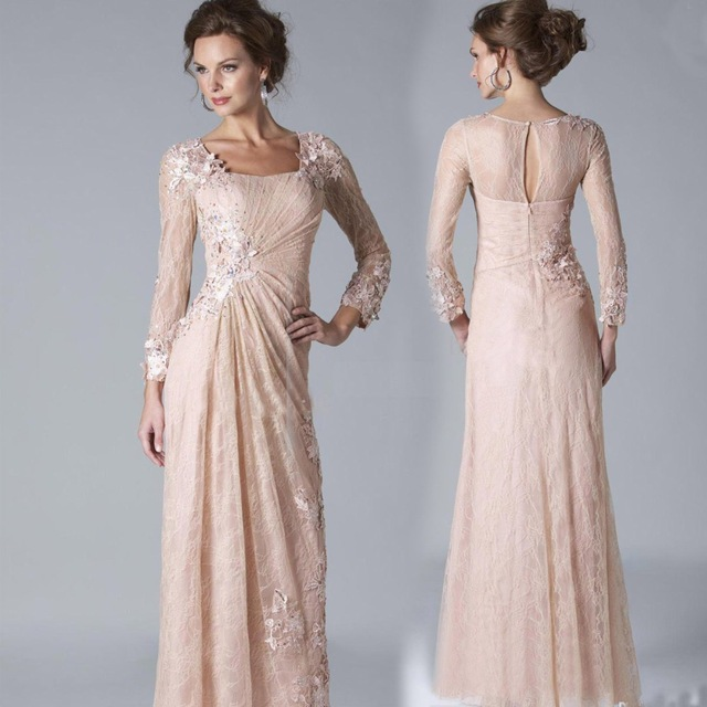 e1ad624a163 New 2019 Nude Long Sleeve Wide-waisted Mother of the bride dresses Plus Size  Beads