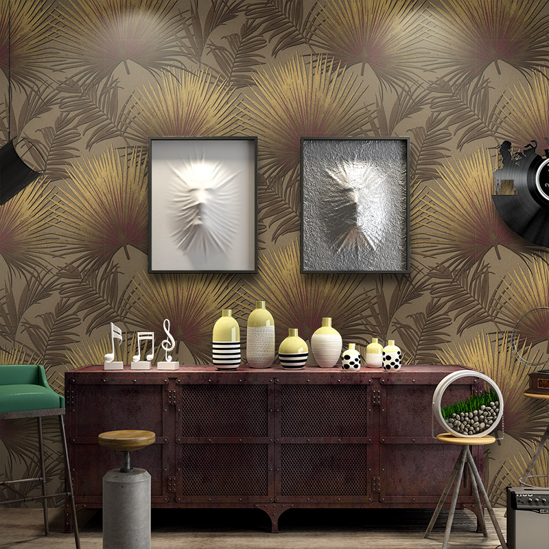 Stupendous Us 25 2 30 Off Southeast Asian Big Coffee Palm Leaves Wallpaper Modern Living Room Clothing Store Sofa Tv Background Wall Papers Home Decor In Creativecarmelina Interior Chair Design Creativecarmelinacom