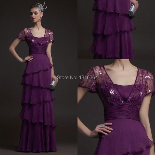 ab485df8ac99 € 126.49 |Elegante vestidos largos por la noche! hermosa con cuentas de  manga corta de encaje vestido del diseño especial en capas que fluye gasa  ...