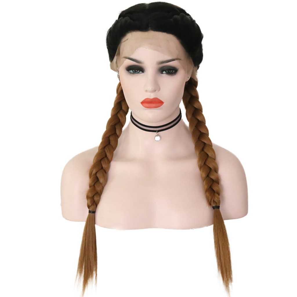 Top Quality Synthetic Baby Hair Braided Double Lace Front Wig Long Brown Ombre Brown Wigs Peluca Perruque Gift Dropshipping