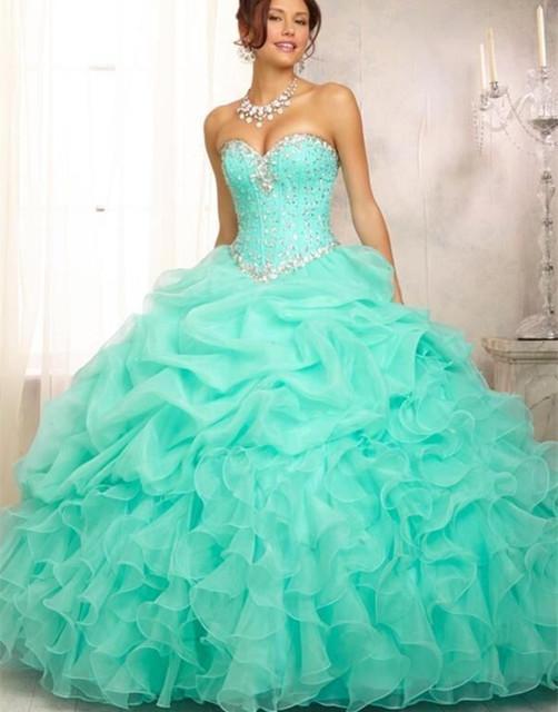 Nueva llegada de menta verde vestido de quinceañera vestidos de bola rebordeado amor del corsé del organza vestido de quinceanera puffy sweet