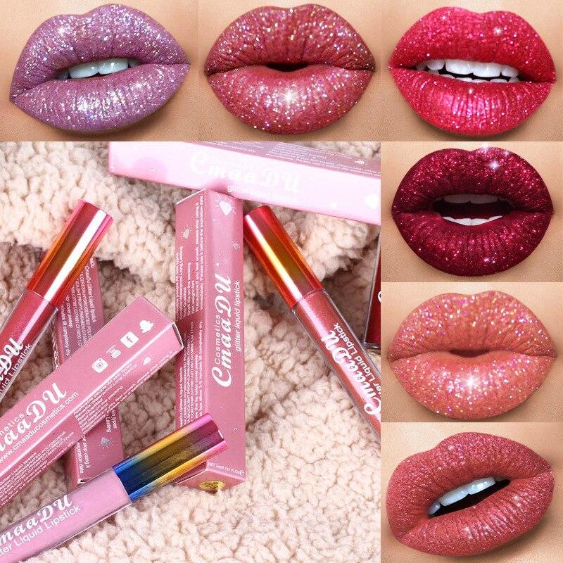 Glitter Lips Make Up Liquid Lipstick Waterproof Long Lasting Shimmer Red Lip Pink Women Lipsticks 3