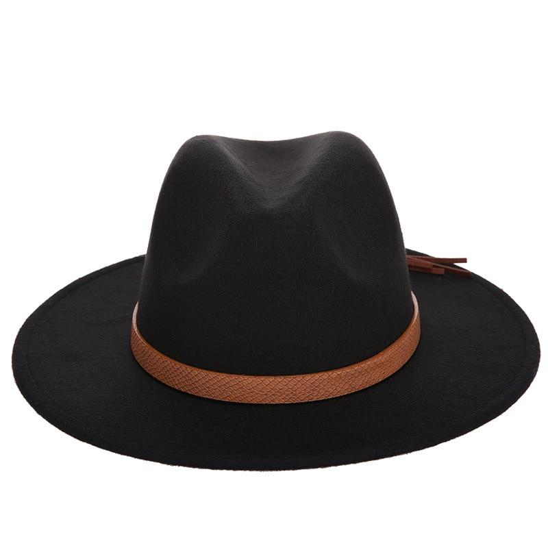 Горячая мода шерстяная шляпа зимняя женская мужская фетровая шляпа широкополый цилиндр шляпы женские винтажные большие Sombrero Джаз открытый кости - Цвет: Black