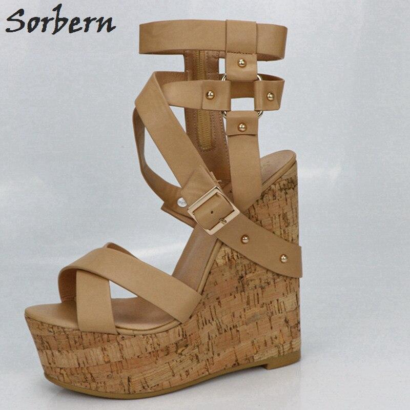 Sorbern Nu Plataforma Sandálias Cunhas Sapatos Para As Mulheres Sandálias Gladiador Das Mulheres Sapatos de Plataforma de Salto Alto Verão As Cores Personalizadas - 2