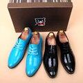 6 Colores Hot Mens Ocasionales Rojos Zapatos de Cuero Del Dedo Del Pie Puntiagudo Partido Oxford Británico Zapatos de Boda de Charol Amarillo Tamaño EU37-44