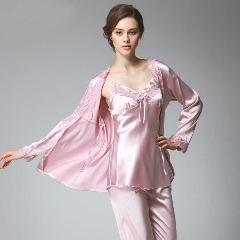 0677377721 PS036 Ladies Satin Silk Pyjamas Female Sexy Lace V-neck 3 Pieces Pajama Set  Plus