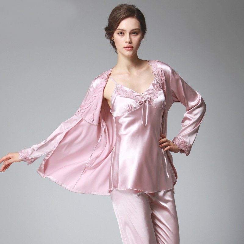PS036 Ladies Satin Silk Pyjamas Female Sexy Lace V-neck 3 Pieces   Pajama     Set   Plus Size Full Sleeve Spaghetti Strap Pant Nightwear