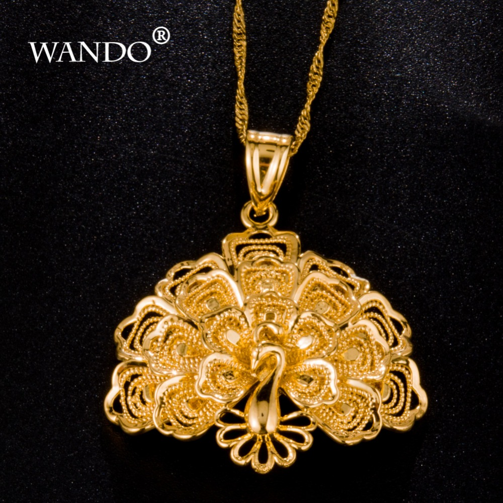 WANDO 24K gold color  High quality Peacock Nigeria Pendant Necklace for Women Gold Color  Birds Jewelry For Women Best Gift WP4