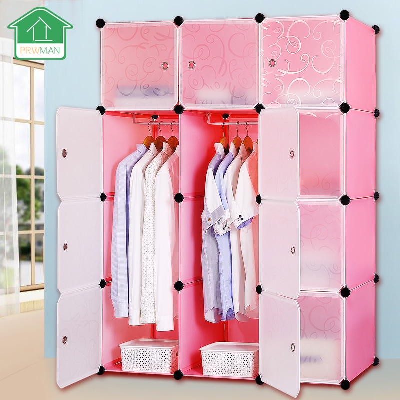 PRWMAN 12 Cube 2PC Hook DIY Pink Piece of Resin Storage Cabinets Bedroom Wardrobe Furniture Assembly Dormitory Student Wardrobe