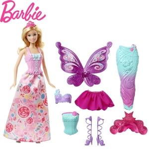 Original Barbie Fairytale Dress Up Doll Mermaid Girl Toys Gift Set Birthday Christmas Present Toys Gift For Children DHC39
