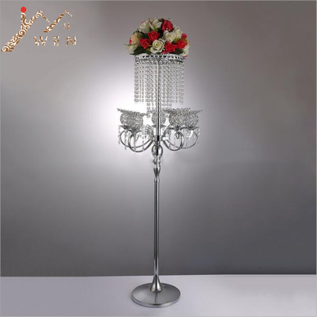 130CM Silver Metal Candelabras With Pendants Romantic Flower Rack Wedding Table Centerpiece Home Decor Candle Holder 6 Pcs Lot