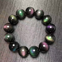 Natural 6A Eye Cat Eye Both Eye Black Yao Stone Bracelet Men And Women Crystal Bracelet 14mm