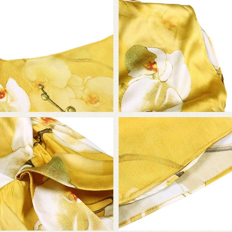 Slash Corto Cuello Yellow Camisa Sexy Blusa Casual Pokwai Gasa Nueva Seda Mujeres Batwing Tops 2018 Sashes Floral Calidad Alta Manga Z6qHwHv