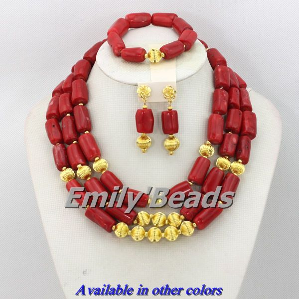 Red African Beads Jewelry Set Coral Beads Jewelry Set Fashion Nigerian Wedding African Beads Jewelry Set Free Shipping CJ149 free shipping 2017 fashion red coral beads jewelry set charms red twisted strands african jewelry set high quality cnr132