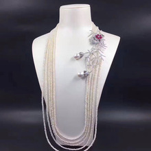 Freshwater Pearl Necklace Earrings Jewelry Set Long Multi-row Multi-layer Sweater Chain S925 Silver Plate White Gold