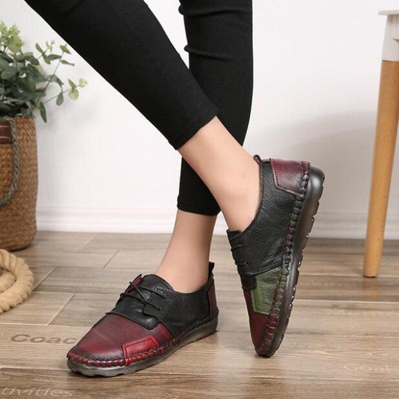 La Casual Rétro rouge Vert 2018 Confortable À Sort Cuir Appartements Plat Sneakers Main Véritable Femmes Plein Sauvage Doux Chaussures Couleur nxx4IHwUa