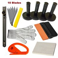 EHDIS Car Wrap Vinyl Tools Kit Wool Squeegee Snitty Cutter Knife Stickers Application Tools Vinyl Tool Kit Magnet Holder TK02
