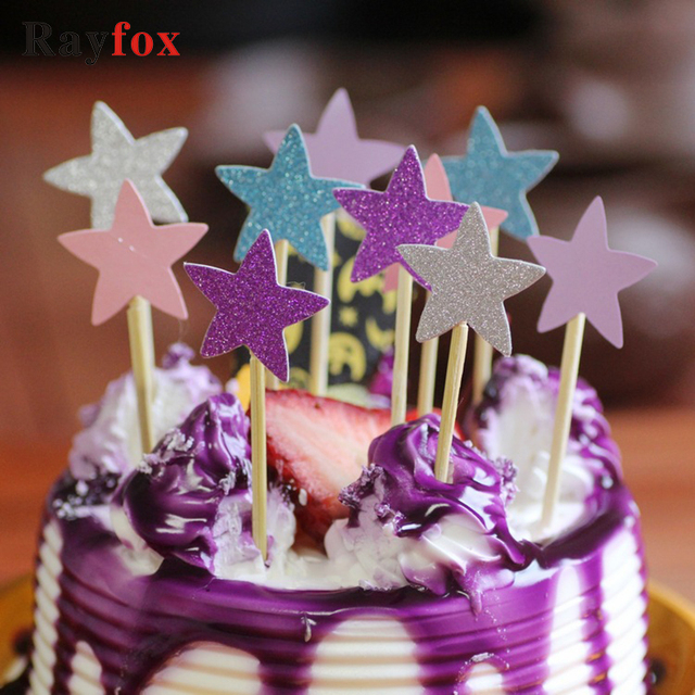 10pcs Lot Cupcake Toppers Star Shape Birthday Cakes Topper Picks Kids Wedding Party Decoration