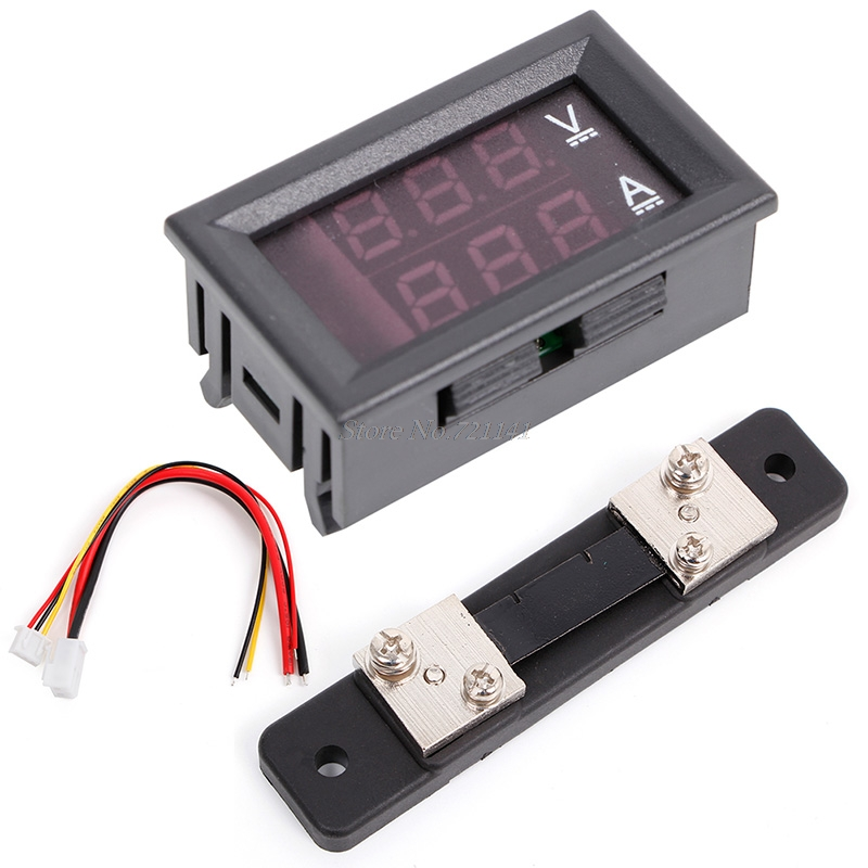 0-100V/50A Red Blue Digital Voltmeter Ammeter 2in1 DC Volt Amp Meter W/ Shunt